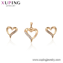 62670 Fashion ladies jewelry two pieces designs heart shaped 18k gold color jewelry set