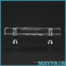 Puxadores modernos de alças de gaveta de gabinete de cozinha de cristal