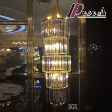 French Modern Large Cylindrical Luxury Crystal Chandelier for Convention Hall