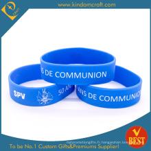 Bracelet en silicone bleu élargi sur mesure pour cadeaux promotionnels (LN-013)