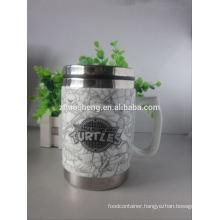 new products 2015 innovative product stainless steel ceramic travel mug, sublimation mug with handle