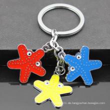 2016 neues Design Starfish geformte Emaille Zink-Legierung Schlüsselanhänger