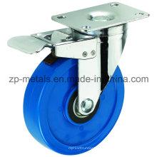 3inch Medium Sized Biaxial Blau PVC Caster Räder mit Bremse
