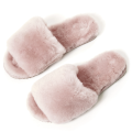 Soft Indoor Fluffy Sheepskin Fur Slippers for Women