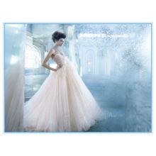 Champagne escote corazón vestidos de novia de Tulle vestido de novia vestidos de noche (WDJL-1023)