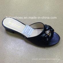 Novo estilo de boa qualidade moda feminina pu sandálias chinelo (jh160523-3)