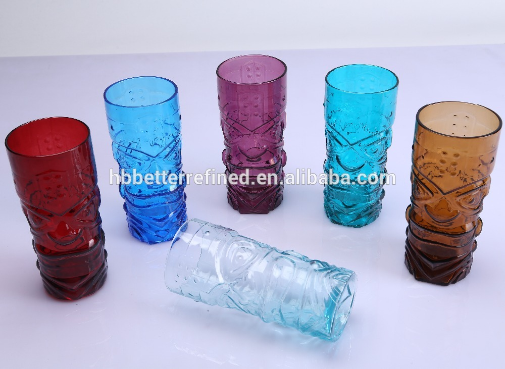 Blown Colored Tiki Glass Mug For Sale