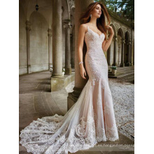 Elegante Alibaba Crystal encaje cuello en V Backless Sirena vestido de novia vestidos de novia LWM278