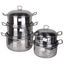 Ensemble de casseroles rondes en acier inoxydable poli