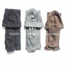 Dreiteiliger warmer Fleece Schals Hut und Handschuhe