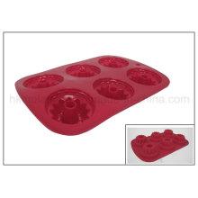 Moule en caoutchouc de gâteau de 6 tasses de silicone (RS03)