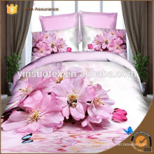 polyester bedding set Luxury Rose on pink background bed sheets 3d
