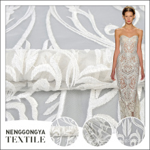 Top quality polyester elegant embroidery white mesh fabric wedding