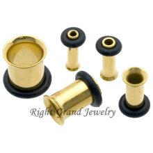 Free Sample Titanium Plated Single Flares Tunnel Gold Ear Plug Jewelry
