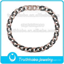 New Arrival Fashion Plated Jewelry Mens Heavy Amour Pink Plated Stainless Steel and Black Ceramic Link Necklace