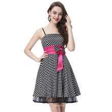 Starzz 2016 Sexy Young Ladies Spaghetti Straps Black White Polka Dots Satin Cocktail Dress ST000087-3
