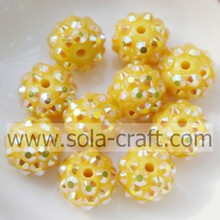 Newest Resin Rhinestone Beads10*12MM With Yellow AB Color For Bracelets