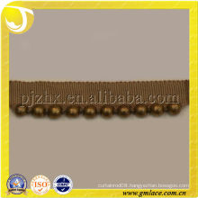 Braid Gimp Trim with Gold Mental Beads for Sofa,Pillow,and Home Textile Decoration