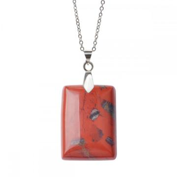 Natural Red Jasper Women Chakra Rectangle Gemstone Pendant Necklace with Silver Chain