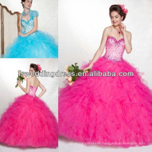HQ2044 Hot pink two tone ruffled tulle with beading bolero jacket ball gown floor length corset back conservative ball gowns