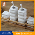Bambus Küche Keramik Cruet Set mit Bambus Rack
