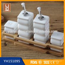 Bamboo Kitchen Ceramic Cruet Set with Bamboo Rack