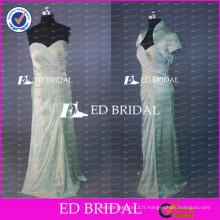 ED Bridal Real Sample Boucles d'oreilles en mousseline de soie en taffetas Mère de la robe de mariée avec veste à manches courtes 2017