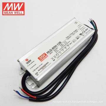 MW 90-305VAC C.C + CV 12V 5A con función PFC IP67 regulable Alta entrada 60W LED Driver HLG-80H-12B