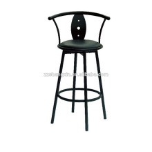Chaise à dossier Chaise en métal, chaise pivotante à barre noire avec coussin