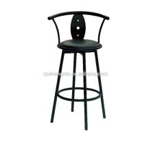 Backrest Bar Chair Metal Frame, Black Swivel Bar Chair with Cushion