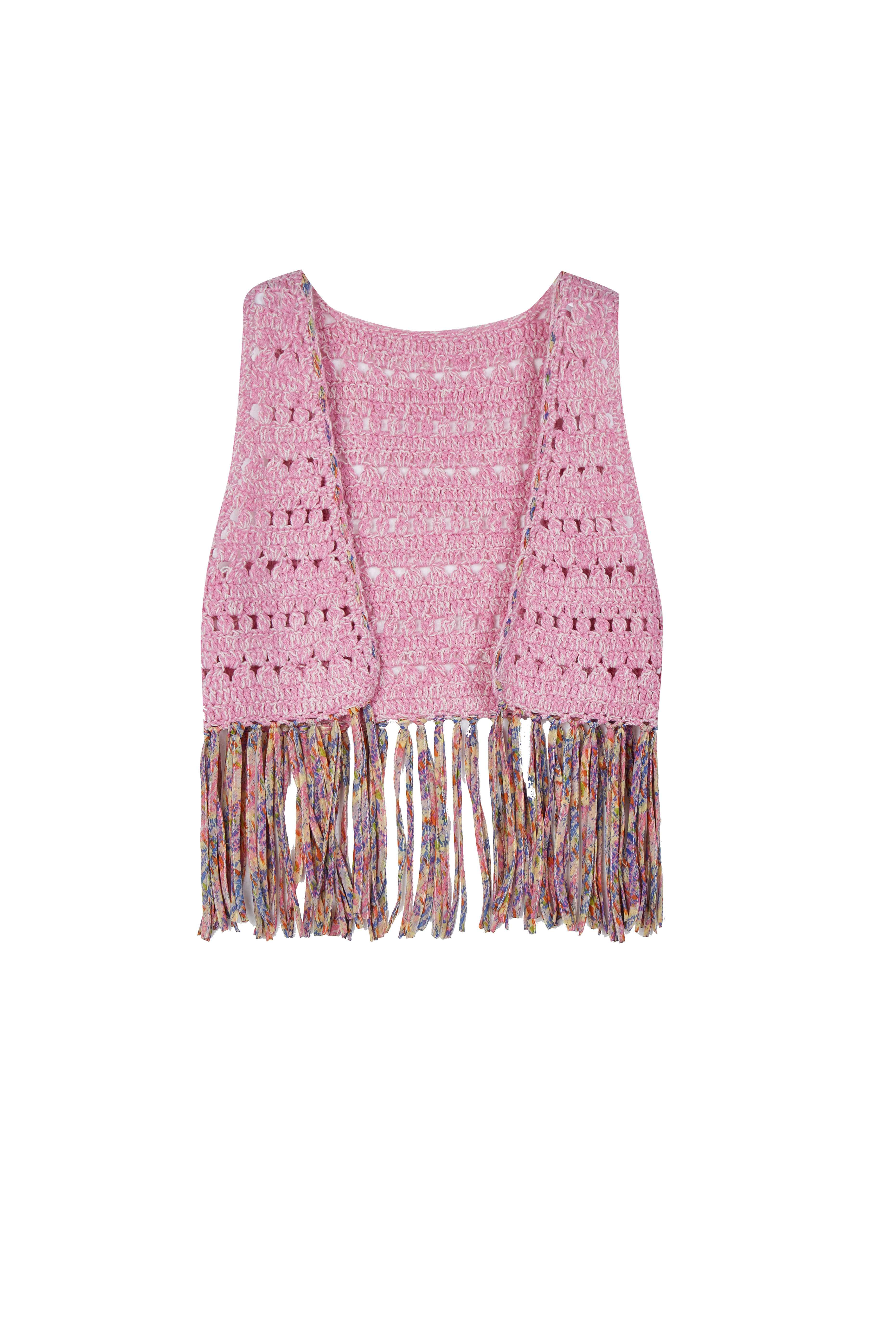 Baby's Summer Hollow Knit Wrap Crochet Vest Chiffon Fringe Holiday Cardigan