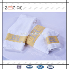Super qualidade personalizada fios tingidos logotipo toalhas cinco estrelas hotel toalha de algodão