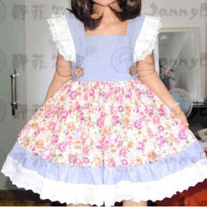 Wholesale chambray fabric flower printed dress