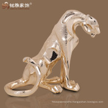 promotional realistic sitting leopard figurine for home table decor