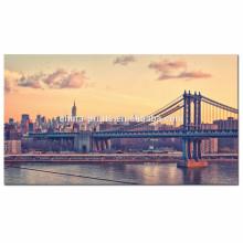 США Манхэттенский мост на рассвете холст / Нью-Йорк Cityscape холст стены искусства / Гудзон стены стены искусства для оптовой