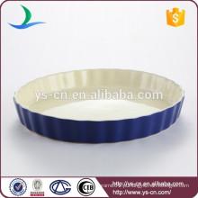 Bakeware de cerâmica redonda azul redonda redondo de boa qualidade