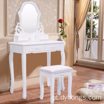 Bathroom Vanity Wood Makeup4 Drawers Dressing Table Stool Set Sector Mirror