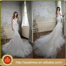 FBB-08 New Design vestido de noiva de comprimento total Sweetheart Hand-beaded Embroidere Dramatic Ruffle Low Back Lace Wedding Dress