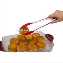 Tongs de cocina de mango de acero inoxidable Tong de pastel de silicona de grado alimenticio