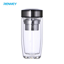 Private Label Double Wall Glass Water Bottle with Bamboo Lid, Stainless Steel and Leather Cover
