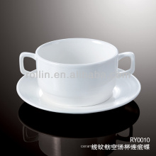 healthy special durable white porcelain airline soup cup and saucer