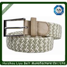 2014 mode élastique tressé pu matériel de ceinture tissée décontractée