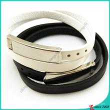 Bracelet simple en cuir blanc noir Design simple (LB16041948)
