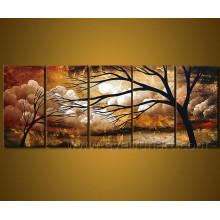 Pintura al óleo hecha a mano del árbol del paisaje en lona
