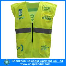 Preço competitivo alta visibilidade reflexiva luz amarelo colete de segurança com logotipo