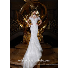 ZM16016 High Beaded Short Sleeve Halter Neck Wedding Dresses Deep V Neck Sexy Mermaid Bridal Dresses Long Train Bridal Gown