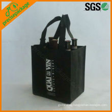 wholesale high quality reusable 6 bottle non woven wine carrier bag