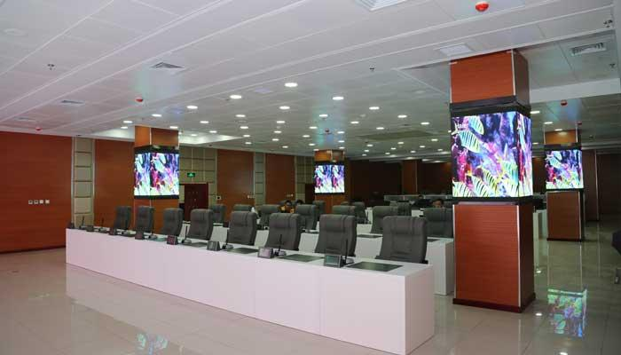 led video wall display installed in conference