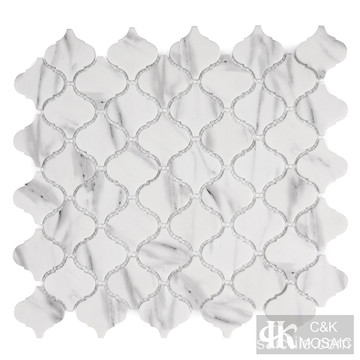 Carrara Printing Arabesque Glass Mosaic Backsplash