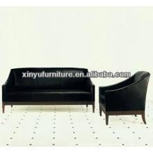 Black leather modern living room sofa XY0985